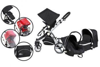 MamaKiddies Premium Baby 3in1 pram Black with Accessories